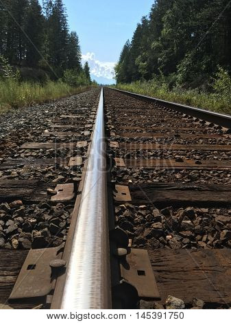 Looking down a railway track