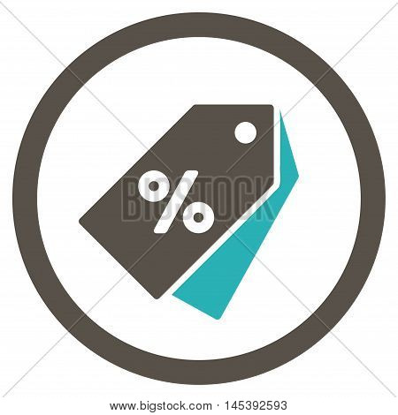 Percent Discount Tags rounded icon. Vector illustration style is flat iconic bicolor symbol, grey and cyan colors, white background.