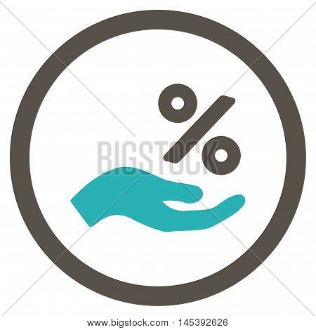 Percent Offer Hand rounded icon. Vector illustration style is flat iconic bicolor symbol, grey and cyan colors, white background.