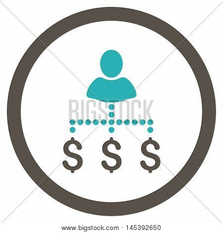 Person Payments rounded icon. Vector illustration style is flat iconic bicolor symbol, grey and cyan colors, white background.