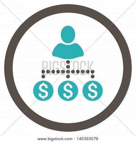 User Payments rounded icon. Vector illustration style is flat iconic bicolor symbol, grey and cyan colors, white background.