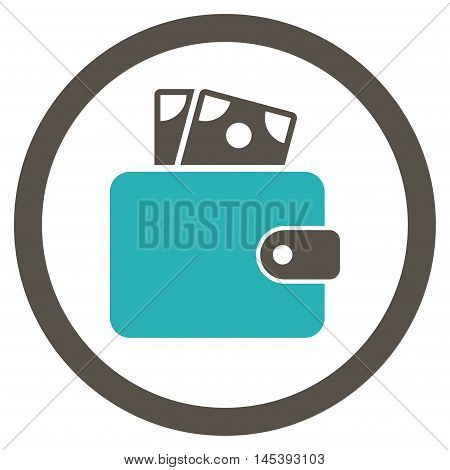 Wallet rounded icon. Vector illustration style is flat iconic bicolor symbol, grey and cyan colors, white background.