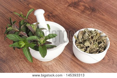 Fresh Natural Green And Dried Mint With Mortar, Healthy Lifestyle