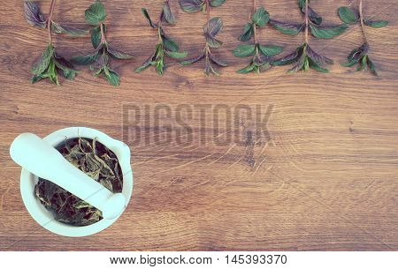 Vintage Photo, Fresh Green And Dried Mint With Mortar, Healthy Lifestyle, Copy Space For Text