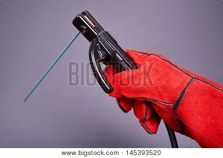 Welding equipment, protective leather gloves, welding electrodes, high-voltage wires with clips, set of accessories for arc welding