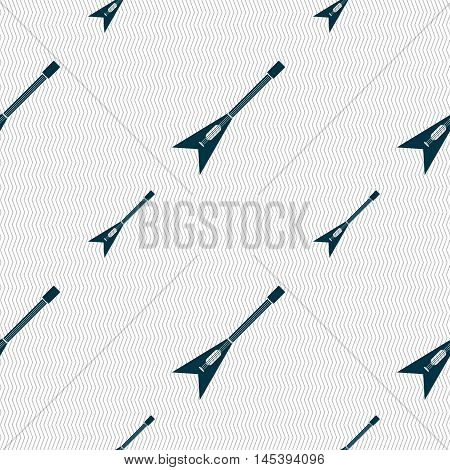 Guitar Icon Sign. Seamless Pattern With Geometric Texture. Vector