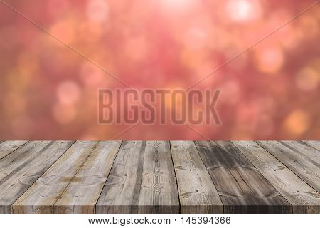 Wood Table Top On Red Bokeh Abstract Background - Can Be Used For Montage Or Display Your Products