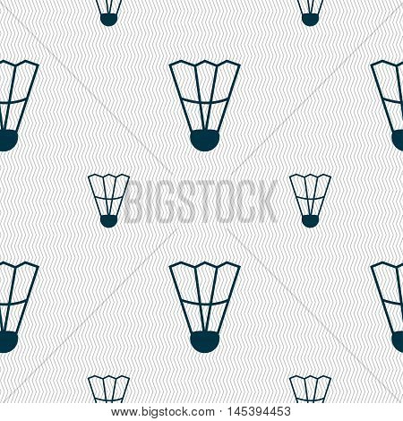 Shuttlecock Icon Sign. Seamless Pattern With Geometric Texture. Vector