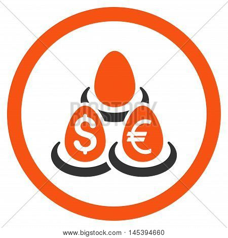 Currency Deposit Diversification rounded icon. Vector illustration style is flat iconic bicolor symbol, orange and gray colors, white background.
