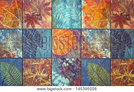 Old wall ceramic tiles patterns handcraft from thailand parks public.