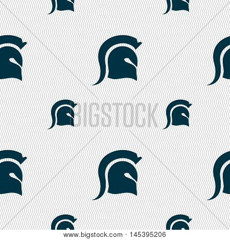 Spartan Helmet Icon Sign. Seamless Pattern With Geometric Texture. Vector