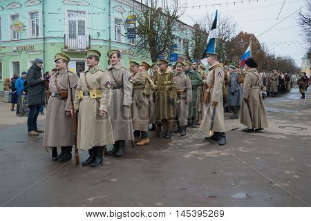 GATCHINA, RUSSIA - NOVEMBER 07, 2015: The participants of the international military-historical festival