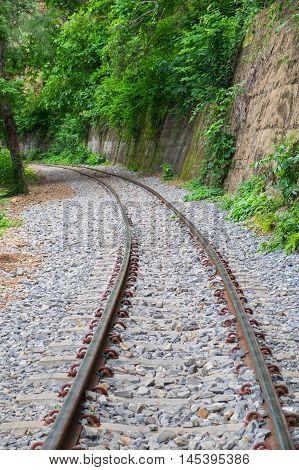 The railway along the cliff and tree called