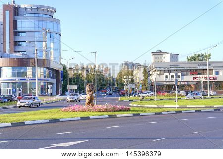BELGOROD RUSSIA - August 30.2016: Victory Square. Modern apartment buildings wide highways on the avenue Vatutina