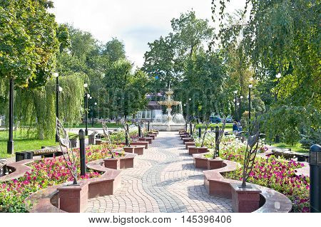 BELGOROD RUSSIA - August 31.2016: Easter fountain on the avenue of friendship cities-brothers on Civil boulevard