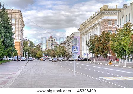 BELGOROD RUSSIA - August 31.2016: Cathedral Square and the street Popova in the administrative center of the city