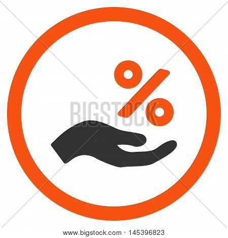 Percent Offer Hand rounded icon. Vector illustration style is flat iconic bicolor symbol, orange and gray colors, white background.