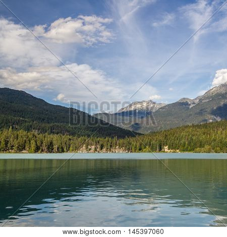 Mountains And Green Lake Near Whistler Canada