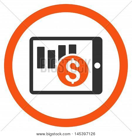 Sales Chart on Pda rounded icon. Vector illustration style is flat iconic bicolor symbol, orange and gray colors, white background.