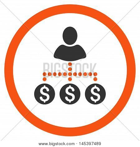 User Payments rounded icon. Vector illustration style is flat iconic bicolor symbol, orange and gray colors, white background.