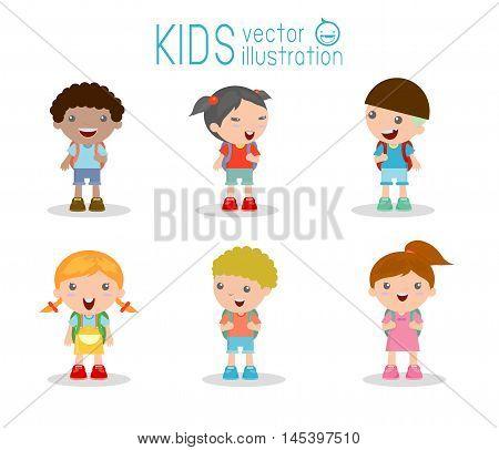 Kids go to school, back to school, Cute cartoon children, happy children, Vector Illustration.