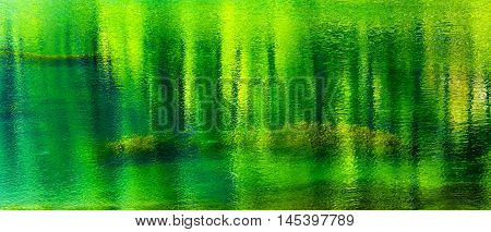 Fifty Shades of Green Summer Colors Water Reflection Abstract Wenatchee River Leavenworth Washington