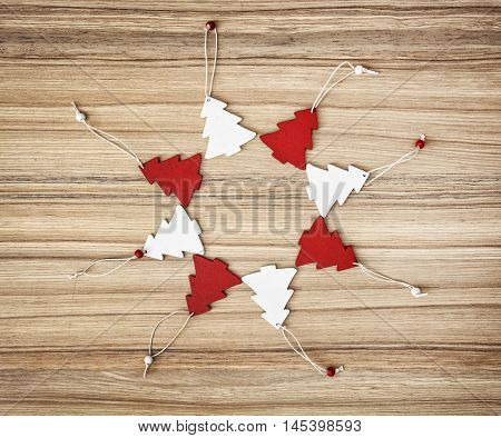 Red And White Decorative Christmas Trees In Circle Shape