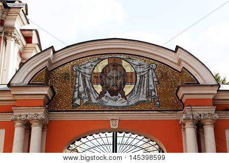 Saint Alexander Nevsky Lavra or Saint Alexander Nevsky Monastery. Icon of Jesus at the main gate of the monastery. Russia, Saint-Petersburg