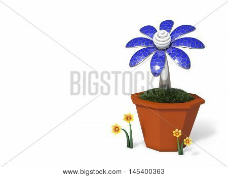 3D rendering Solar cells electric flower in a pot isolated on white background with copy space.