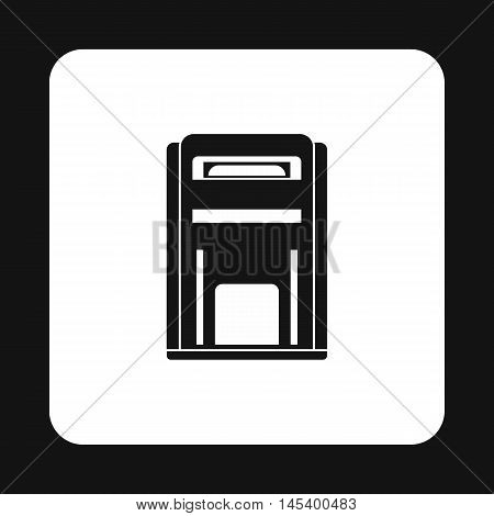 Black inbox icon in simple style isolated on white background. Message symbol