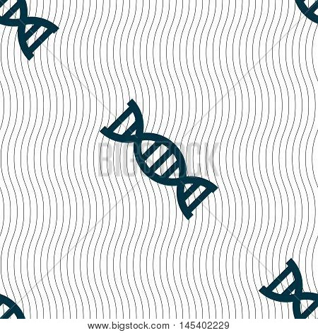 Dna Icon Sign. Seamless Pattern With Geometric Texture. Vector