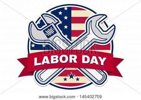 Labor Day Badge Emblem With Wrenches And American Flag.