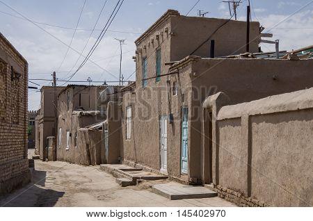 Narrow Street Of Itchan Kala Medieval Residential Neighborhoods, Khiva, Uzbekistan.