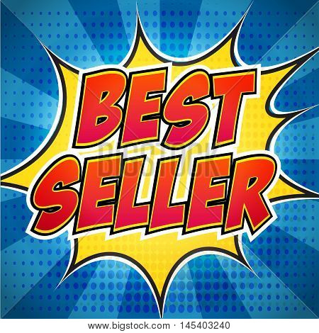 Best Seller. Sale banner. Comic pop art style. Banner design. Banner template. Best product sale. Design explosion flyer pop art comic sale discount promotion.