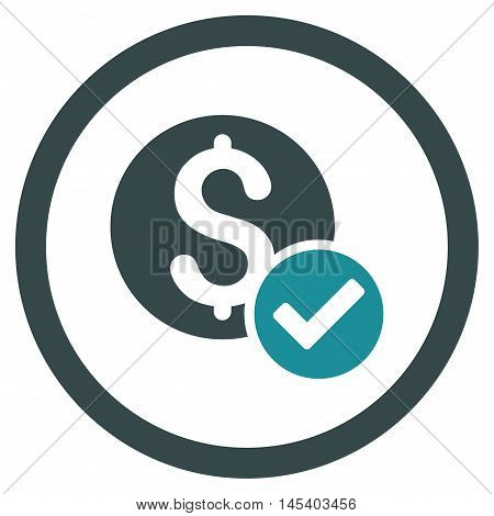 Approved Payment rounded icon. Vector illustration style is flat iconic bicolor symbol, soft blue colors, white background.