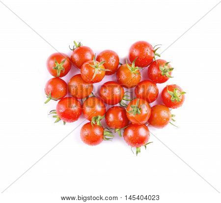 Cherry Tomatoes. Cherry Tomatoes On Top Isolated In Drops Of Water.