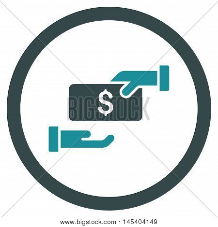 Bribe rounded icon. Vector illustration style is flat iconic bicolor symbol, soft blue colors, white background.