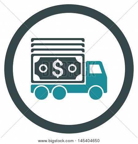 Cash Lorry rounded icon. Vector illustration style is flat iconic bicolor symbol, soft blue colors, white background.