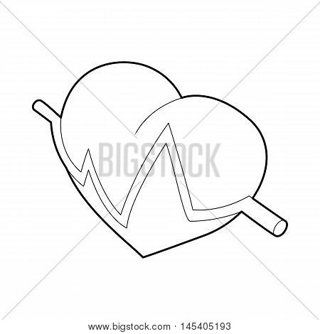 Heart beat pulse icon in outline style isolated on white background