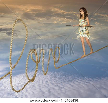 A girl goes on a rope. This is a road of love.
