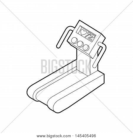 Treadmill running, gym equipment icon in outline style isolated on white background