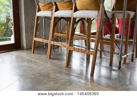 Living Room Interior Decoration Cafe Coffee With Wooden Bar And Chair Barstool