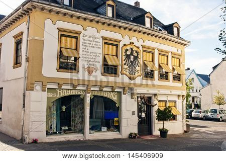 BOPPARD, GERMANY - AUGUST 07: View of the house with shops and a renovated facade reminiscent of history in Boppard Germany on August 07 2016