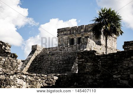 Mexico yucatan Tulum maya ruins Temple Oceanside
