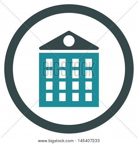 Multi-Storey House rounded icon. Vector illustration style is flat iconic bicolor symbol, soft blue colors, white background.