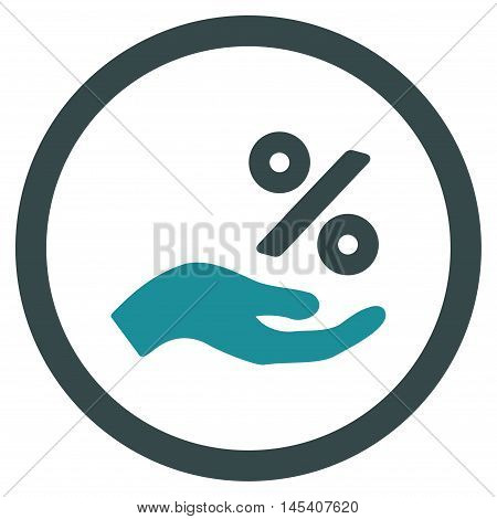 Percent Offer Hand rounded icon. Vector illustration style is flat iconic bicolor symbol, soft blue colors, white background.