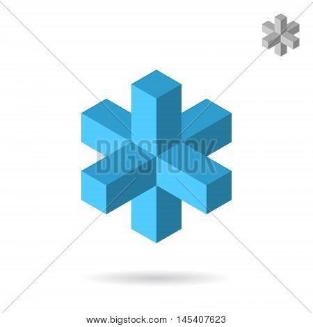 Isometric cross construction sign 3d vector icon on white background eps 10
