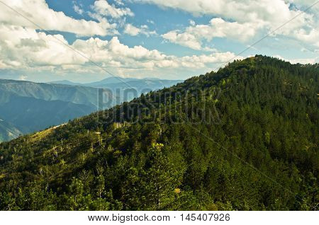 Landscape and cloudscape of Troglav mountain at late summer, west Serbia