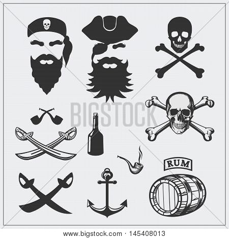 Set of Pirates and Jolly Roger icons. Vector monochrome illustration.