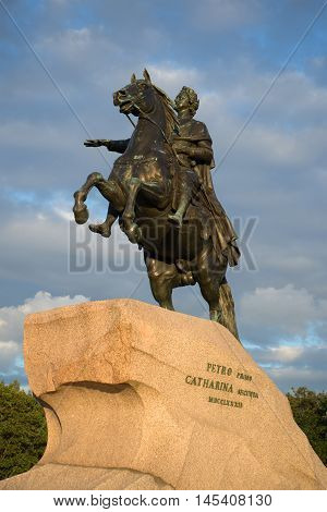 SAINT PETERSBURG, RUSSIA - AUGUST 09, 2016: The vonument to Peter the Great closeup august afternoon. Historical landmark of the city St. Petersburg